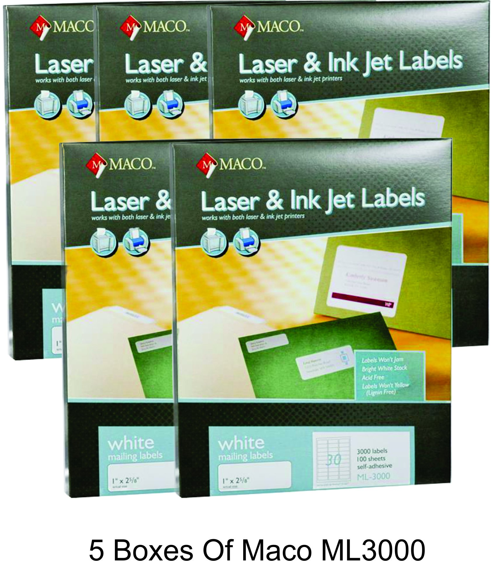 MACO Laser/Ink Jet White Address Labels, 1 x 2-5/8 Inches, 30 Per Sheet, 3000 Per Box (ML-3000) (5 Boxes) by Maco
