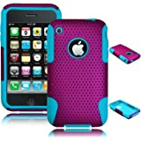 ECOZ Purple Blue 2 in 1 Hybrid Silicone Skin Plastic Mesh Case for Apple Iphone 3g 3gs