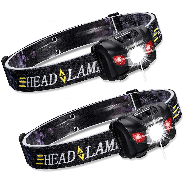 Lot de 2 lampes frontales /à LED CREE super lumineuses 5 modes LED blanches et rouges 150 lm id/éal pour la course piles AAA incluses la randonn/ée et la p/êche le camping r/ésistant /à leau