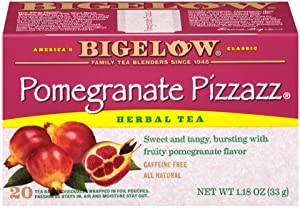 Bigelow Pomegranate Pizzazz Herbal Tea Bags 20-Count Boxes (Pack of 6), Caffeine Free 120 Tea Bags Total