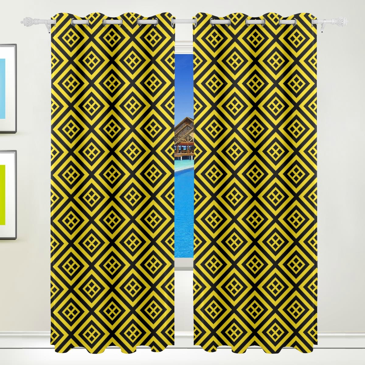 Vantaso Light Shading Window Curtains Abstract Gold Geometric Plaid Polyester 2 Pannels for Kids Girls Boys Bedroom Living Room 84 inch x 55 inch