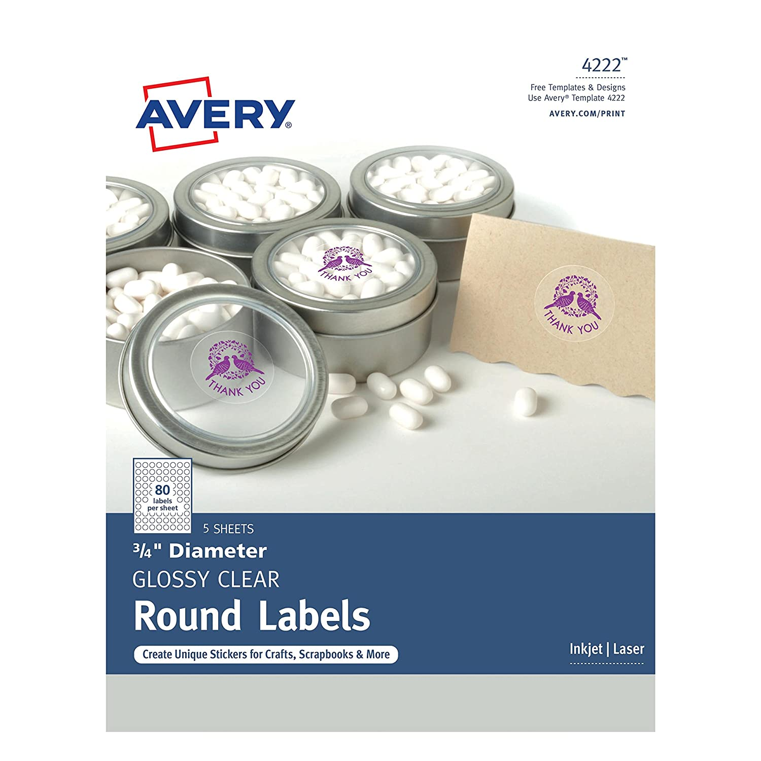 Amazon avery glossy clear print to the edge round labels 3 amazon avery glossy clear print to the edge round labels 34 diameter pack of 400 4222 office products pronofoot35fo Images