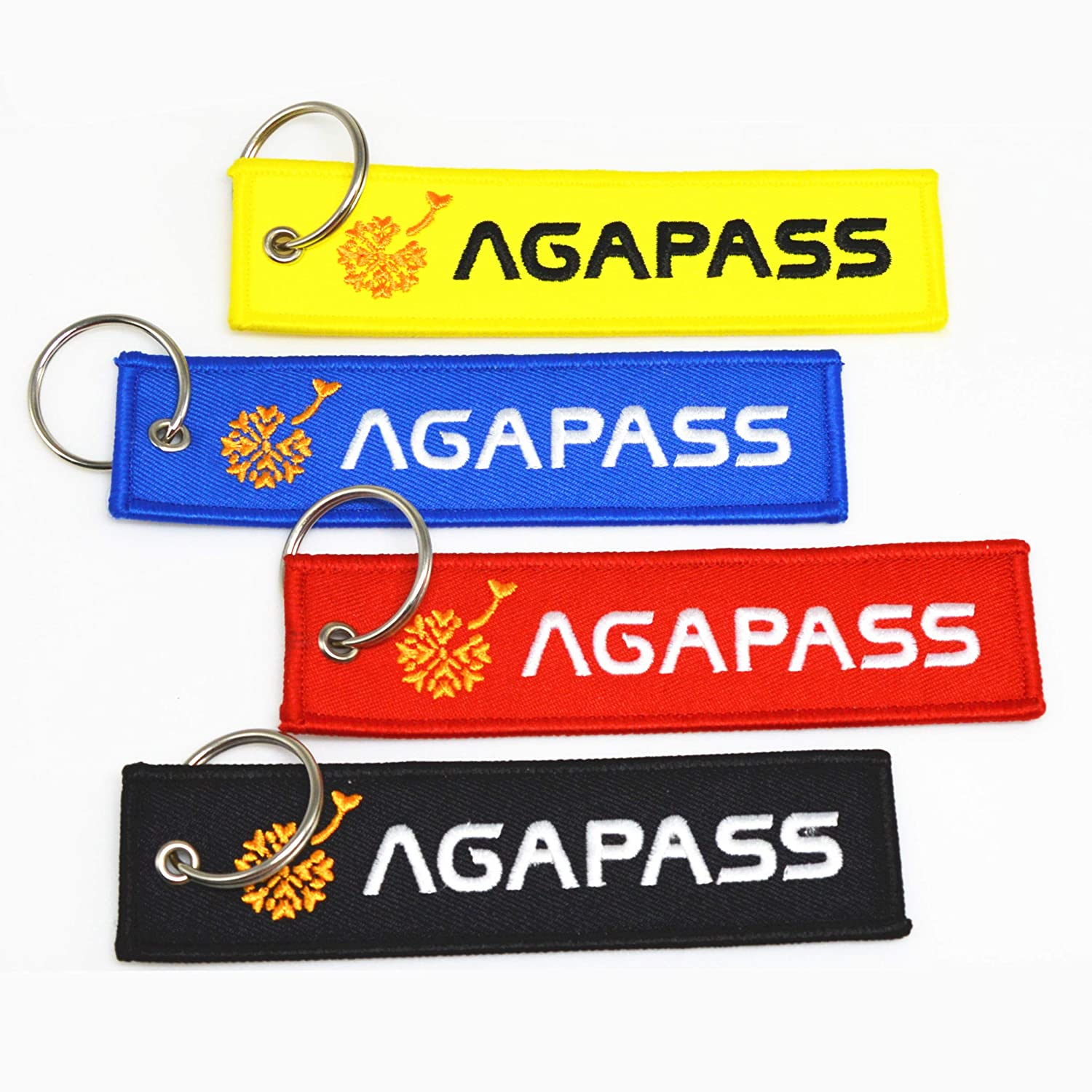 Blue AGAPASS Key Chain,Key Tag with Key Ring Cars Both Sides Embroidered Key Chain Tag Scooters EDC for Motorcycles