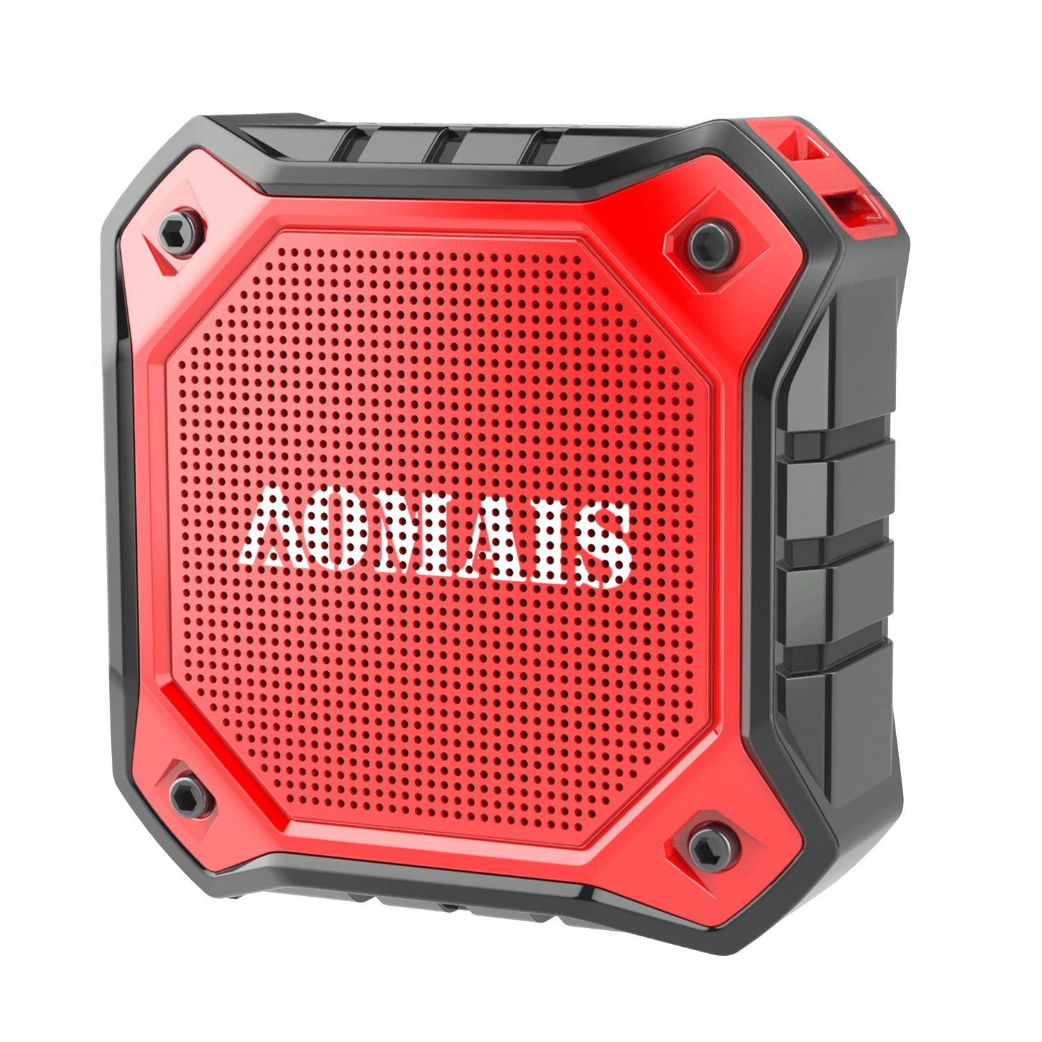 AOMAIS Ultra Portable Wireless Bluetooth Speakers 8W Loud Sound, Waterproof IPX7 Shower Speaker,Stereo Pairing Home Party, Outdoor, Beach, Travel (Red) by AOMAIS (Image #1)