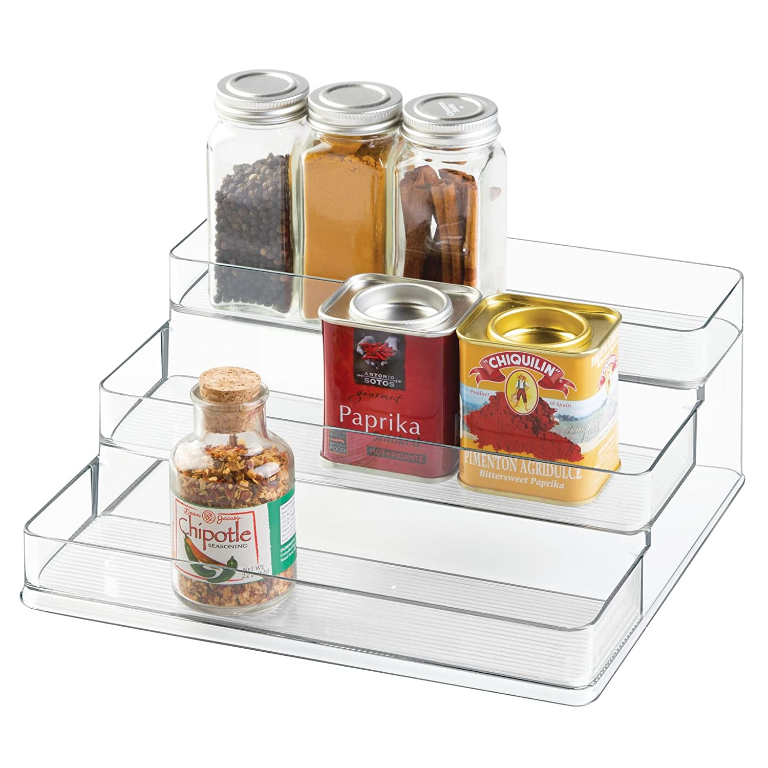 InterDesign Linus Spice Rack Cabinet Organizer for Kitchen Pantry 3-Tier Large Countertops Clear