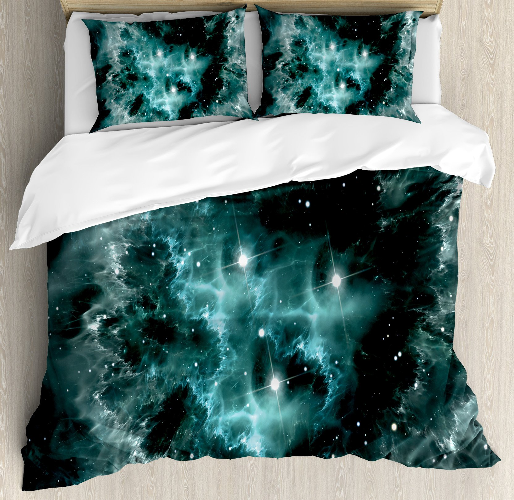 Outer Space Duvet Cover Set Queen Size by Ambesonne, Space Nebula in the Space with Crystal Star Cluster Galaxy Solar System Cosmos Print, Decorative 3 Piece Bedding Set with 2 Pillow Shams, Teal