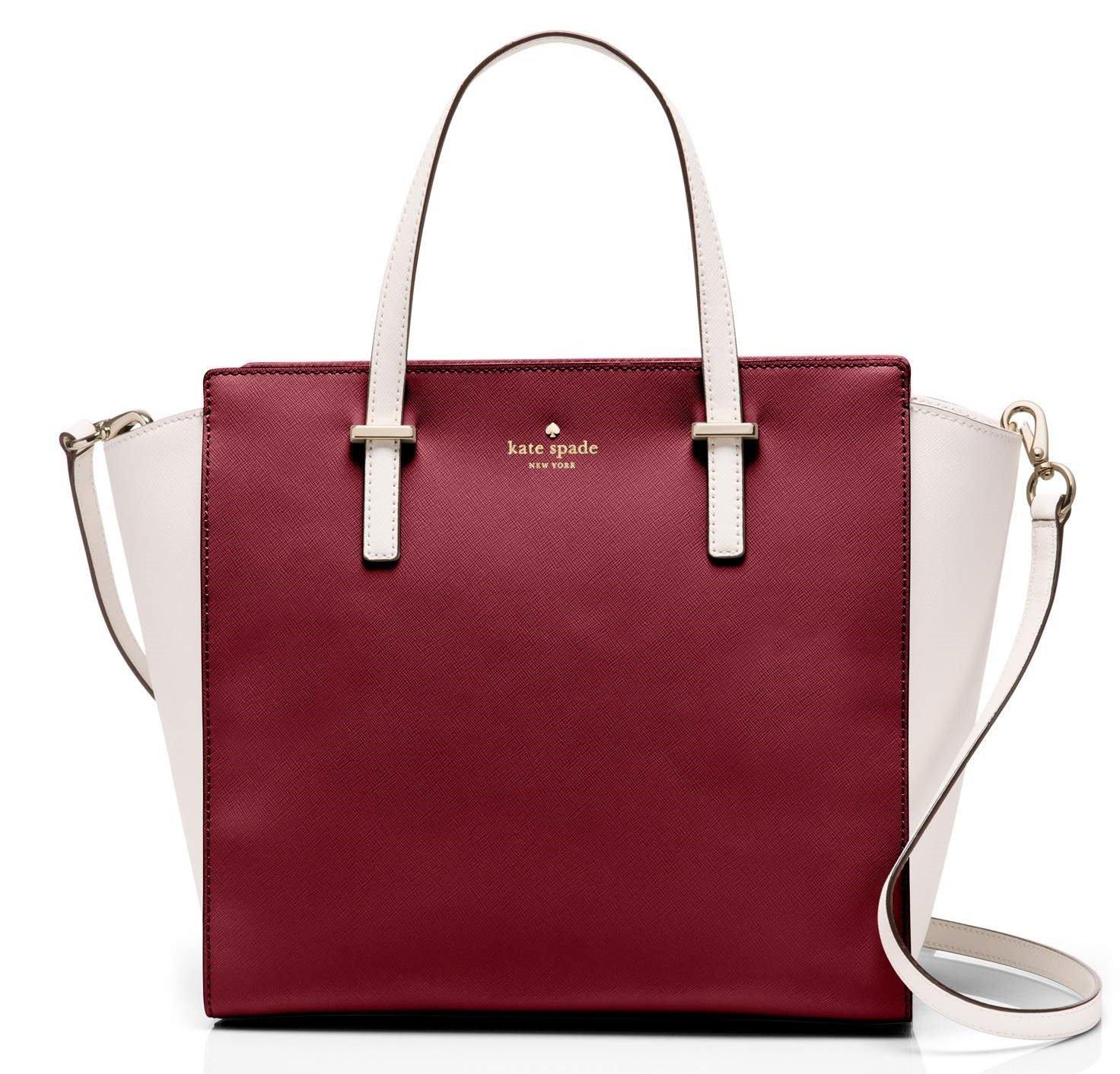 kate spade new york Cedar Street Hayden Top-Handle Bag (Crisp Linen/Merlot)