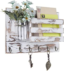 MyGift Whitewashed Wood Wall Mounted Mail Sorter with 6 Key Hooks & Mason Jar