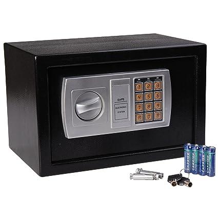 HOMCOM Caja Fuerte Electronica 20x31x20cm Combinacion de Seguridad + Llave Emergencia