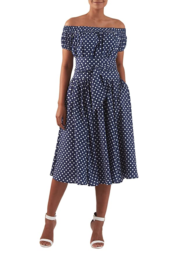 1950s Polka Dot Dresses  polka dot print crepe midi dress $72.95 AT vintagedancer.com