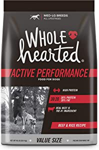 Wholehearted Active Performance High-Protein Beef & Rice Recipe Dry Dog Food, 45 lbs.