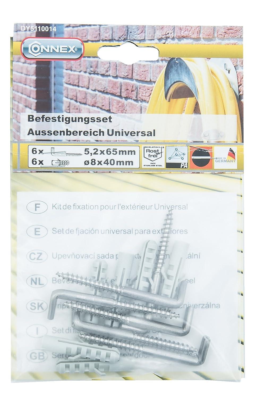 Edelstahl rostfrei A2 Connex DY5110014 Universal-Befestigungsset f/ür Au/ßenbereich 12-teilig