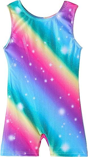 QoozZ Gymnastics Biketard for Girls Gymnastics Galaxy Printed Leotards Unitard