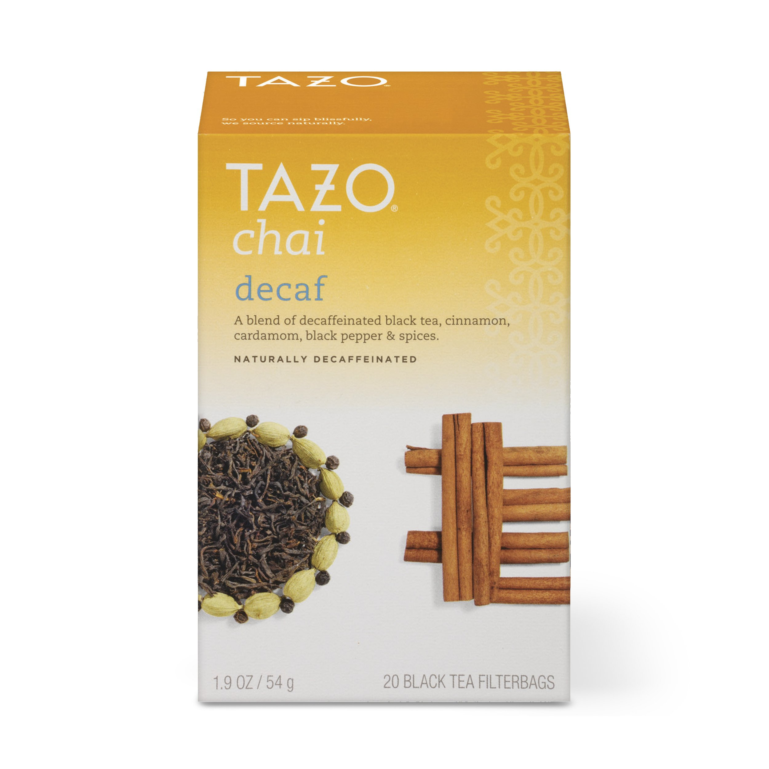 Tazo Decaf Chai Black Tea Filterbags, 20 Count (Pack of 6)