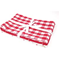 Pack of 3 Gingham Check RED White 100% Cotton Kitchen Tea Towels