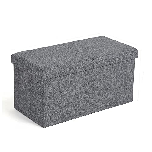 Ottomans Lucia Storage Chest Grey Fabric: Songmics Linen Fabric Folding Storage Ottoman Bench