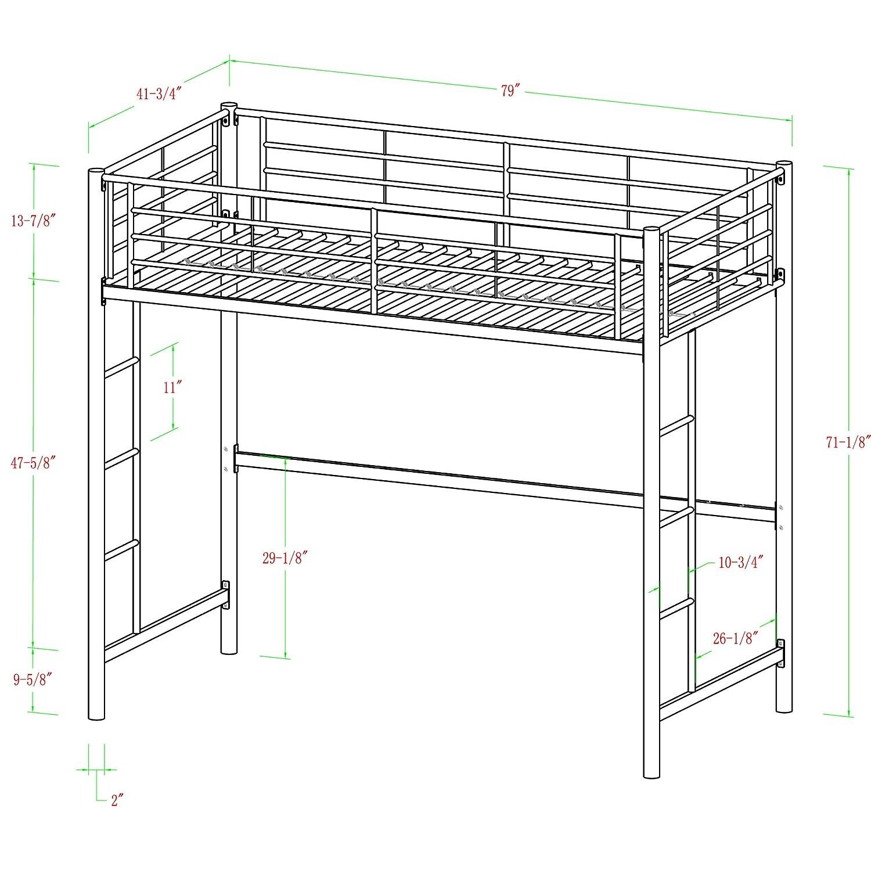 Black Walker Edison Sunset Metal Twin Loft//Bunk Bed
