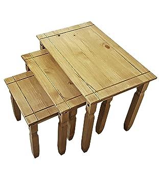 Amazonde Nest Tisch Set Von 3 Aus Massivem Natur Gewachst Kiefer