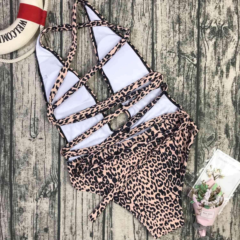 SODIAL Costume da Bagno Intero Donna con Cinturini Leopardati Costume da Bagno Intero Leopardo Nero S