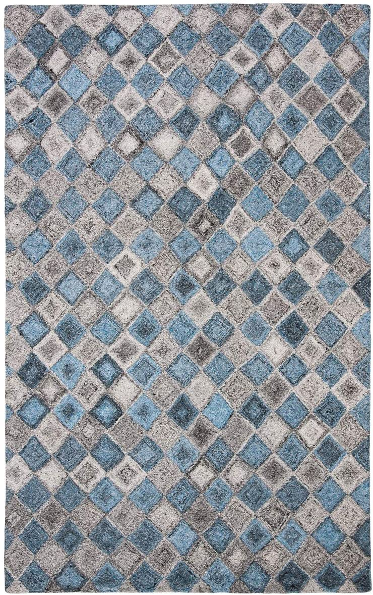 "Safavieh Abstract Collection ABT626F Handmade Wool & Viscose Runner, 2' 3"" x 8', Grey/Blue"