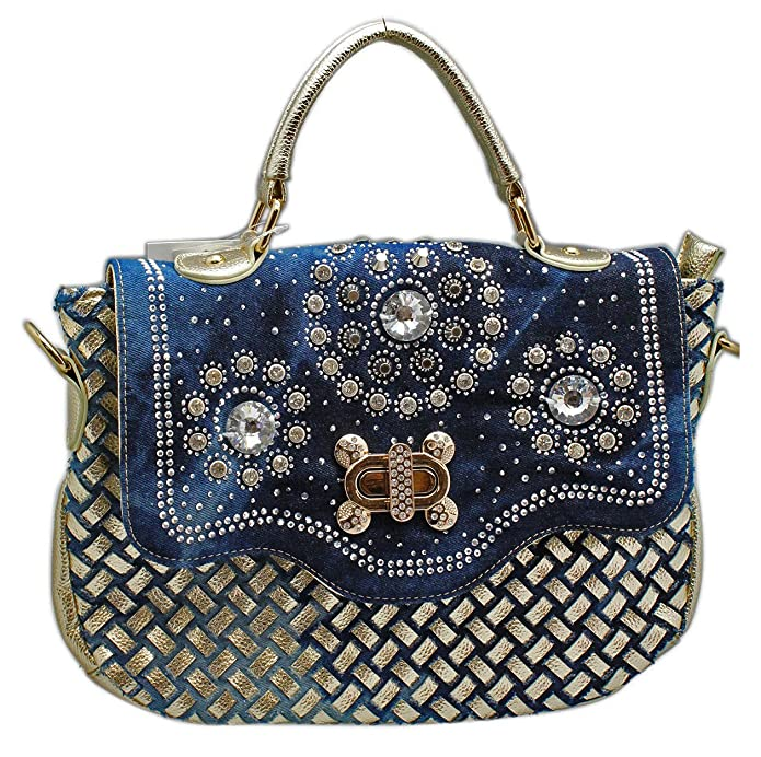 Amazon.com: D orcia Rhinestone BEDAZZLED Denim y piel ...