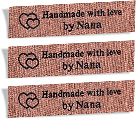 Leather look love garment labels 50mm x 30 mm pack of 6 labels