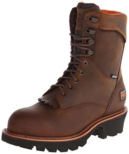Timberland PRO Men's Rip Saw 9 Inch Soft Toe Waterproof Logger,Brown  Leather,7