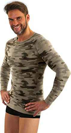 Sesto Senso Camiseta Térmica Camo Manga Corta/Larga Hombre Militar ...