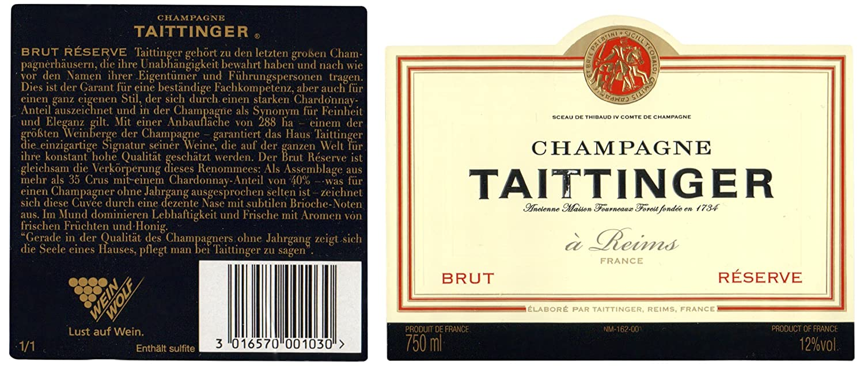 Taittinger Brut Reserve Champagner (1 x 0.75 l): Amazon.de: Bier, Wein &  Spirituosen