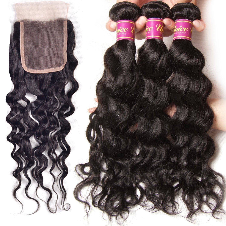 Unice 7A Grade Brazilian Natural Wave Hair 100% Virgin Human Hair 3 Bundles with Closure Natural Color (20 22 24+18Free Closure) by UNICE (Image #3)