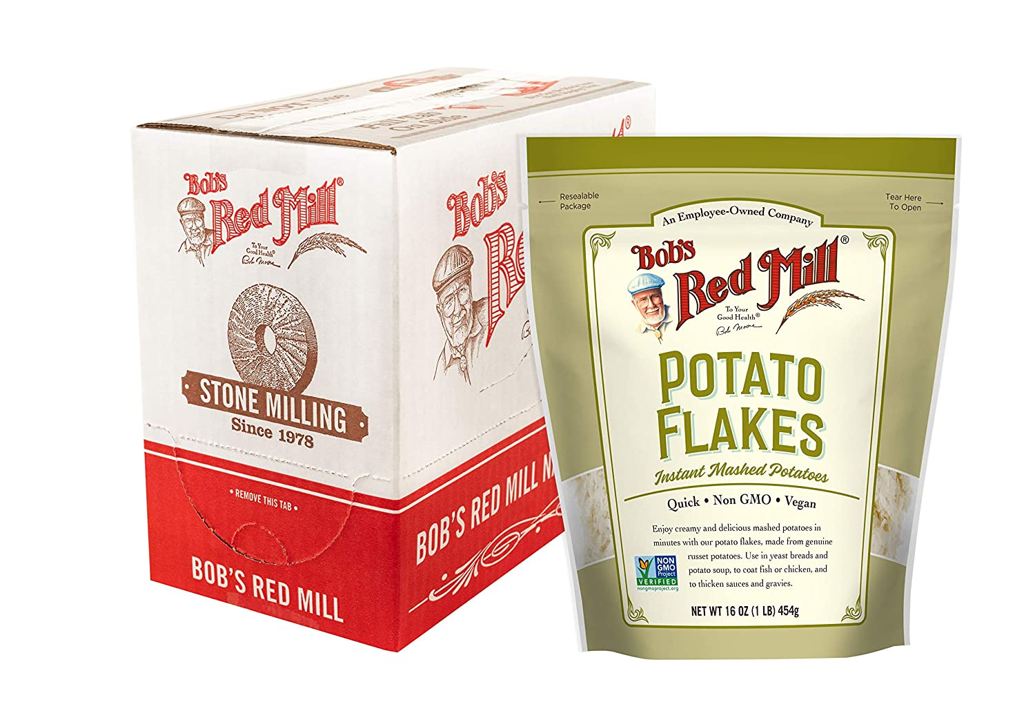 Instant Mashed Potatoes Creamy Potato Flakes (16 Ounce (Pack of 4))
