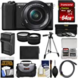 Sony Alpha A5100 Wi-Fi Digital Camera & 16-50mm Lens (Black) with 64GB Card + Case + Battery & Charger + Tripod + Filters + Tele/Wide Lens Kit