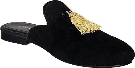 Lozano Black velvet mules with black tassels Casual Shoes Black