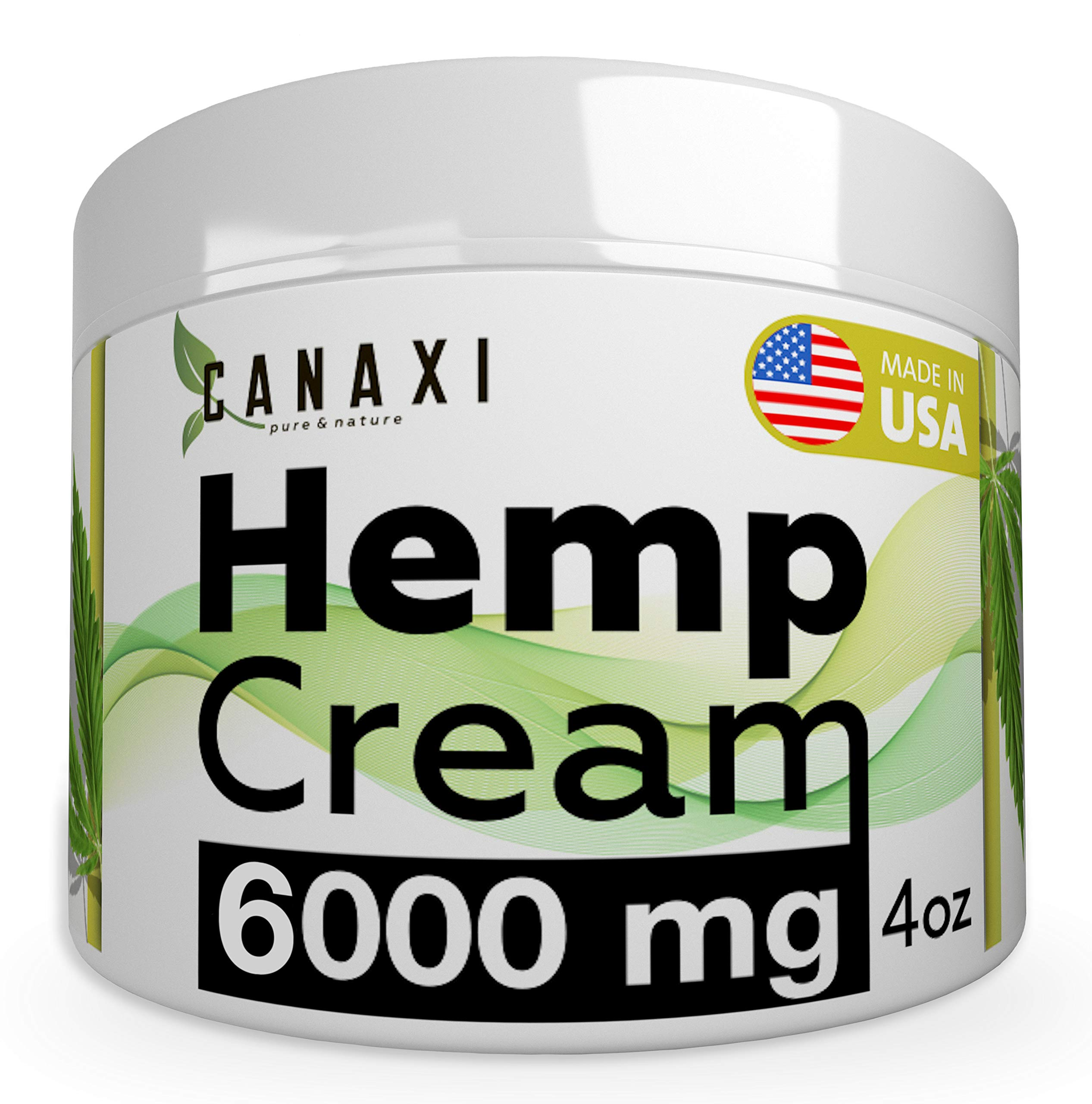 Natural Hemp Extract Pain Relief Cream 6000MG - 4oz- Hemp Salve Essential Gel Arnica Inflammation Arthritis, Knee, Joint & Back Pain Muscle Pain Relief - Made in USA - EMU Oil - Skin Ointment Balm by Canaxi