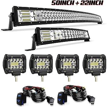"12/"" Upper Bumper Led Light Bar+4/"" Pods+Wiring Kit For Club Car Auto 6000K"