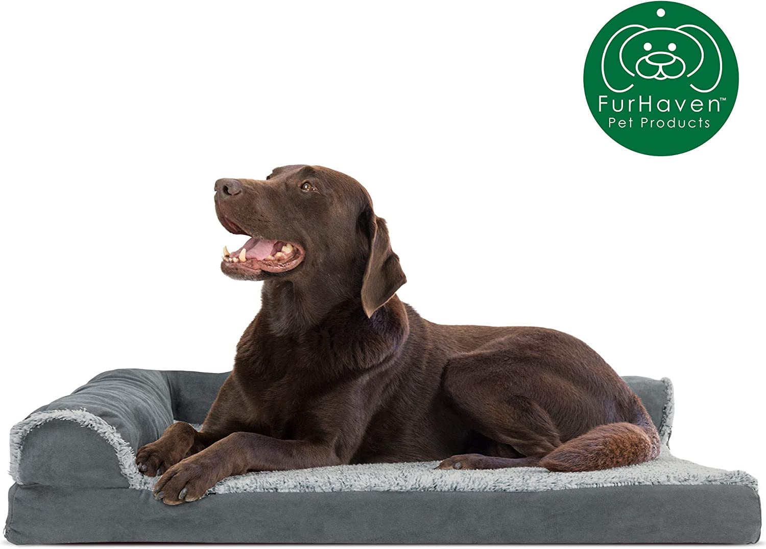 Furhaven Pet Dog Bed - Deluxe Orthopedic Two-Tone Plush and Suede L Shaped Chaise Lounge Living Room Corner Couch Pet Bed with Removable Cover for Dogs and Cats, Stone Gray, Large : Pet Supplies