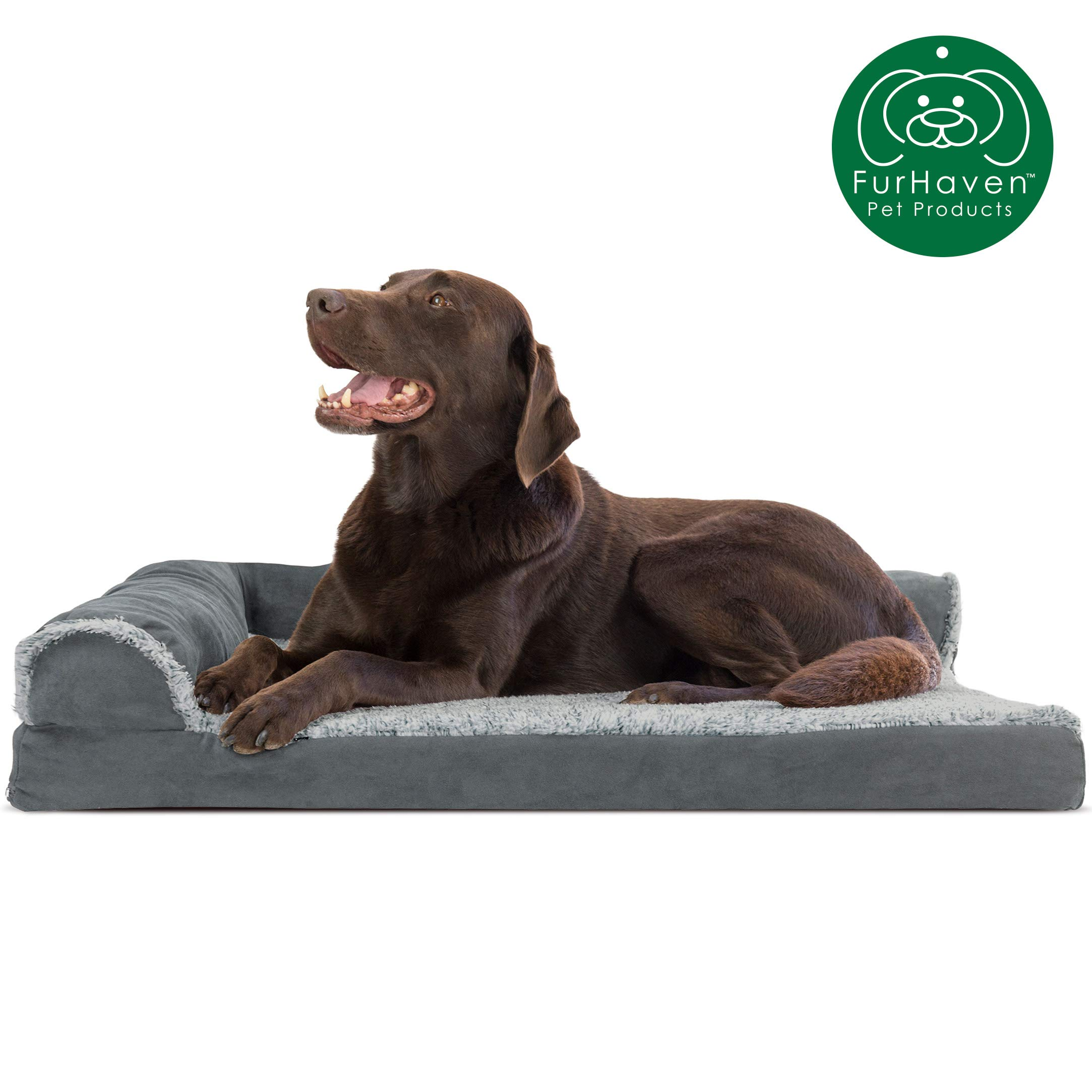 Furhaven Pet Dog Bed | Deluxe Orthopedic Two-Tone Plush Faux Fur & Suede L Shaped Chaise Lounge Living Room Corner Couch Pet Bed w/ Removable Cover for Dogs & Cats, Stone Gray, Large by Furhaven