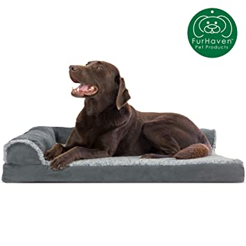 Furhaven Pet Dog Bed | Orthopedic L Shaped Chaise Lounge Sofa-Style Living Room Corner Couch Pet Bed w/ Removable Cover for Dogs & Cats - Available in ...