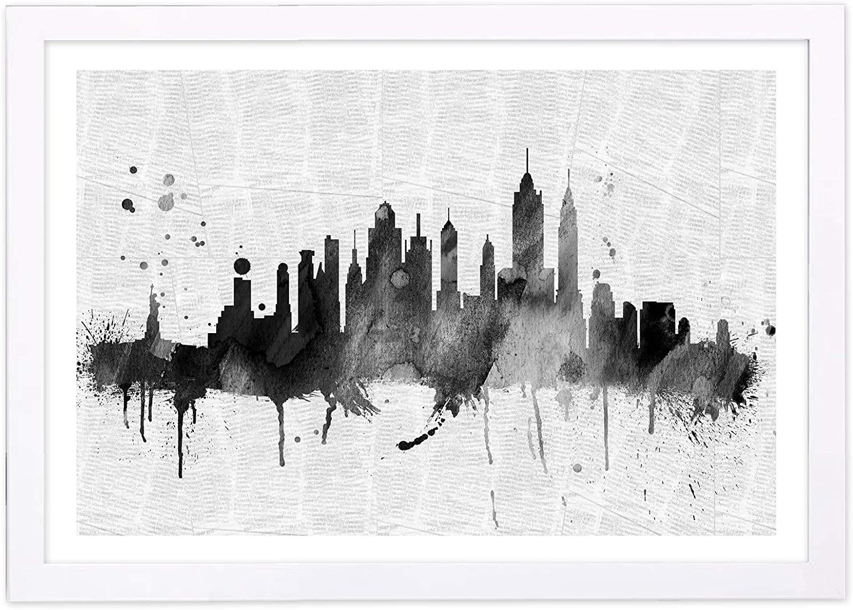 Wynwood Studio Framed Wall Art Prints Ny Skyline 19x13 United States Cities Home Décor 19 X 13 Black White Posters Prints Amazon Com