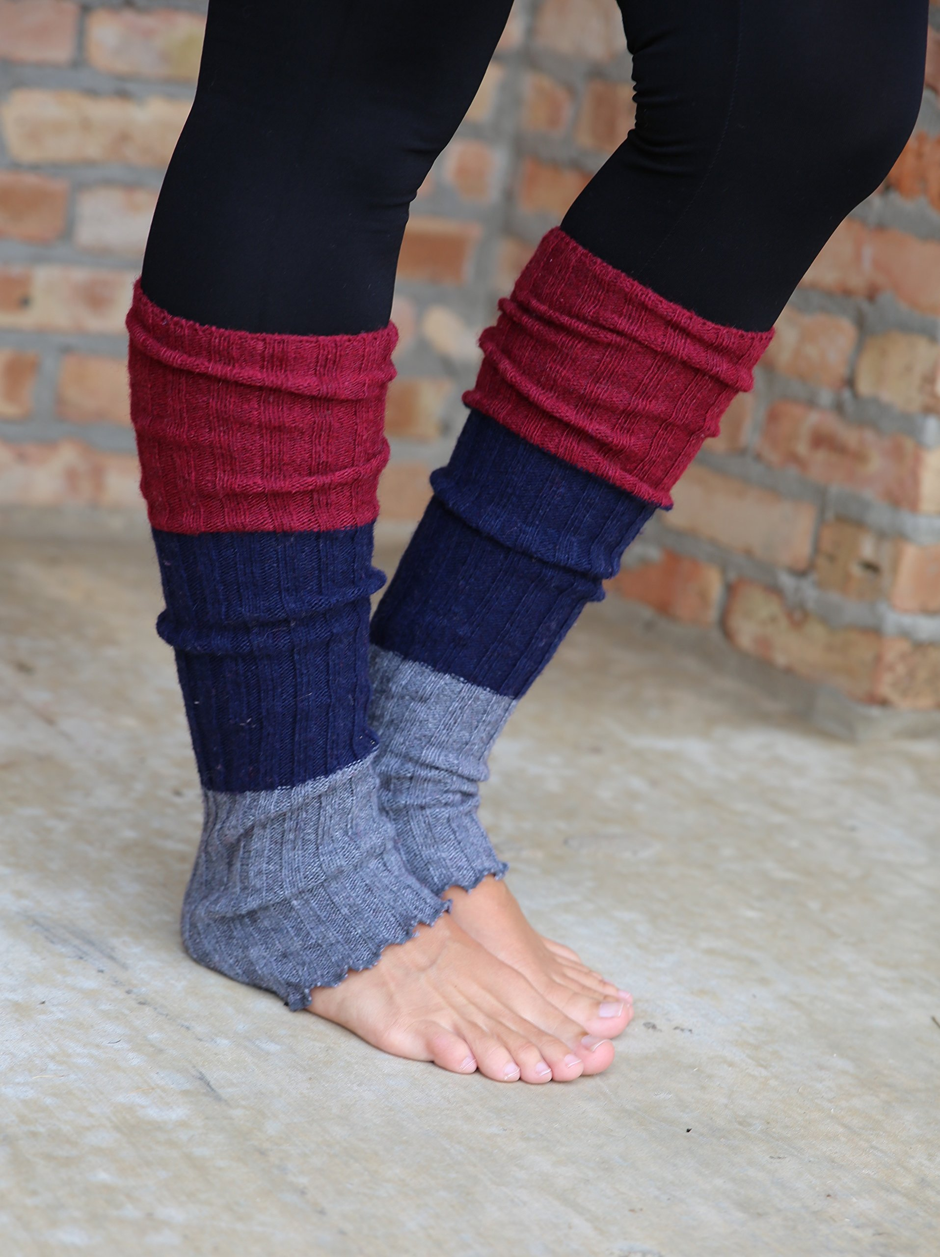 Lucky Love (TM) Striped Multicolor Reversible Knit Leg Warmers by Lucky Love (Image #2)