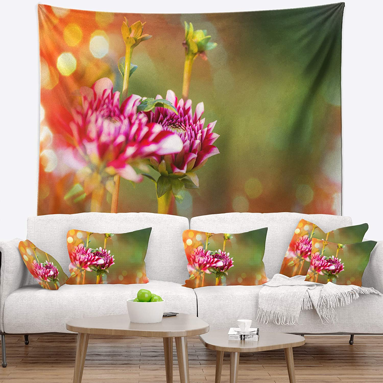 Designart TAP12338-39-32  Pink Blurred Background Flower Blanket D/écor Art for Home and Office Wall Tapestry Medium in x 32 in 39 in