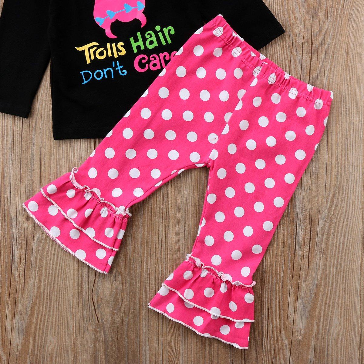 Annvivi Little Girl 2Pcs Long Sleeve Trolls Hair Dont Care Letter T-Shirt Ruffle Capri Pants Outfits