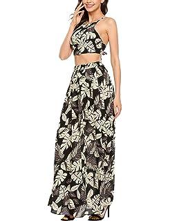 725a41b7ba POTO Women Summer Dot Button Crop Top Two Piece Sling Long Skirt ...
