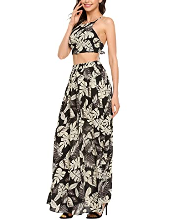 cdf71853e4e0 Image Unavailable. Image not available for. Color  Zeagoo Women s Floral Print  Two Piece Crop Top Long Maxi Dress
