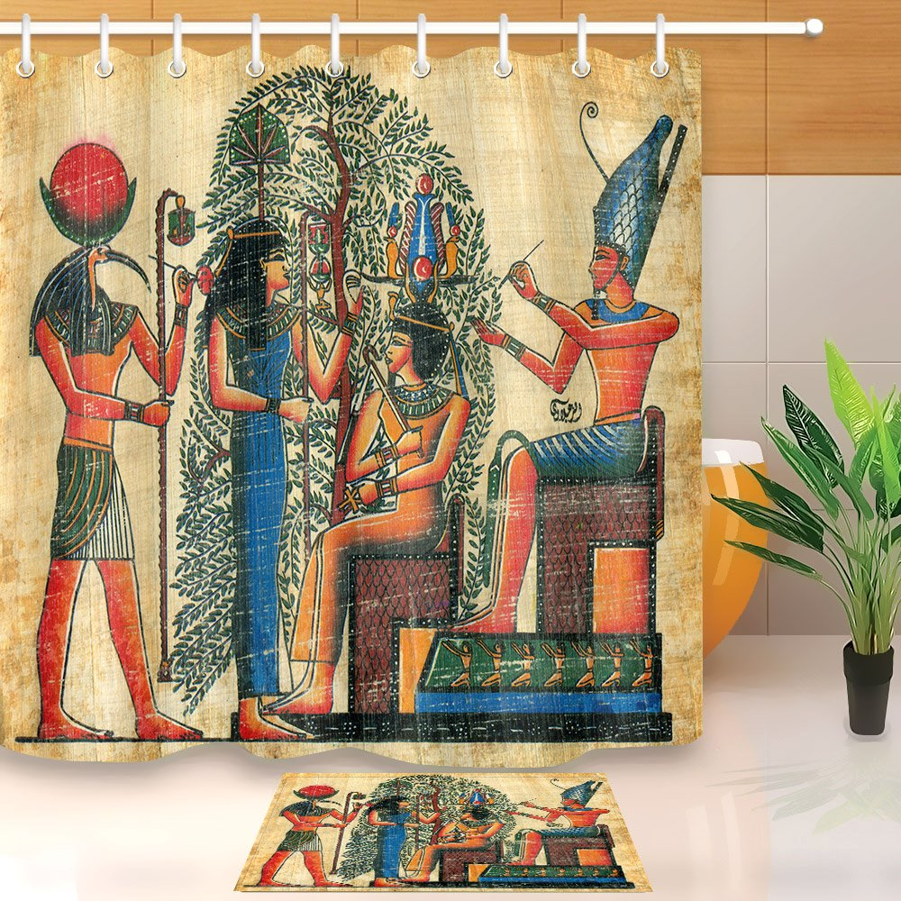 LB Ancient Egyptian Myths Mural Pharaoh Wall Painting Children Decoration Shower Curtain Polyester Fabric 3D 72x72'' Waterproof Horus Hathor Isis Osiris Kids Bathroom Accessories Bath Liner Mat