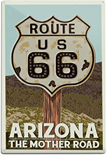 product image for Arizona, Route 66, Letterpress (12x18 Aluminum Wall Sign, Wall Decor Ready to Hang)