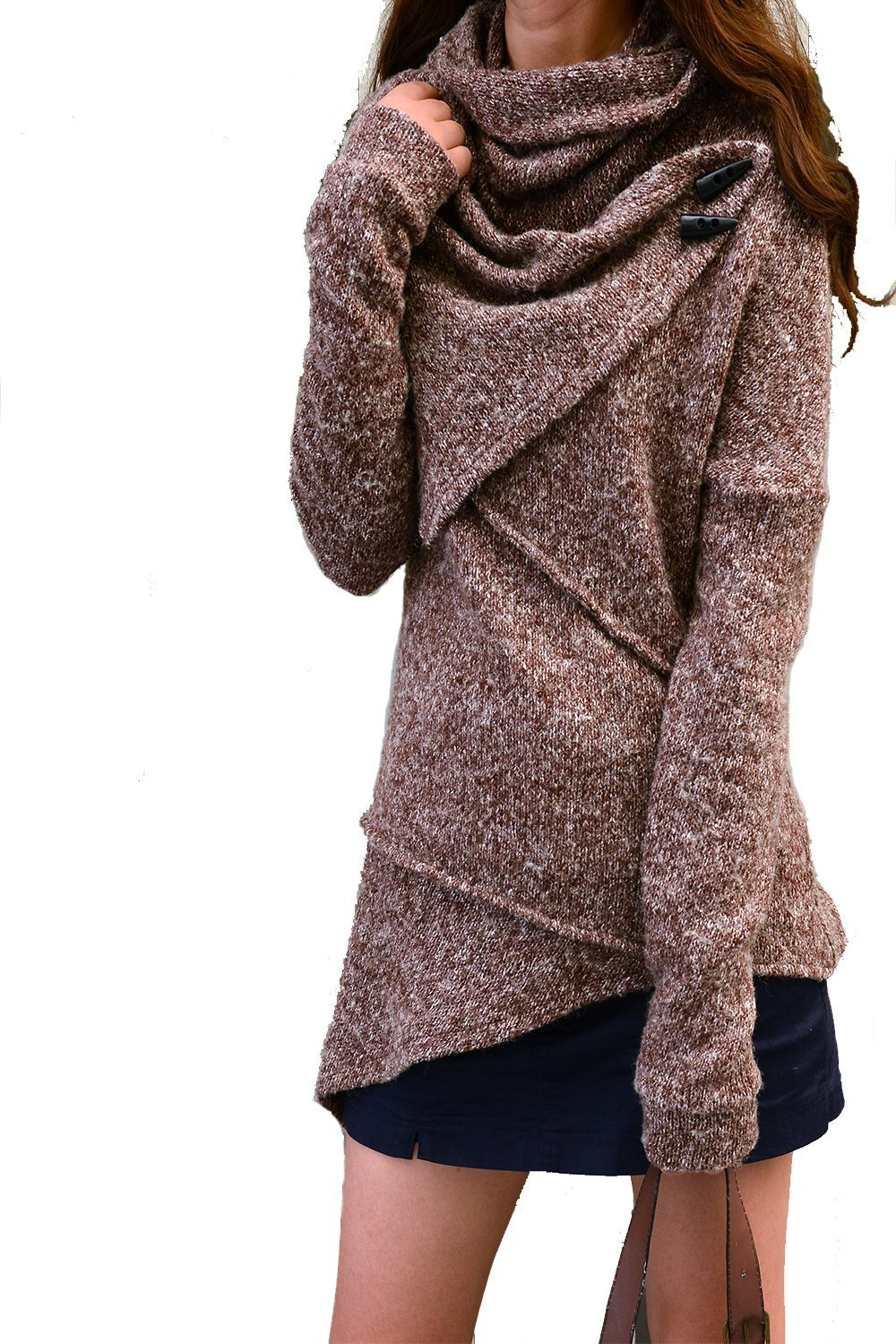 Women's Asymmetrical Knit Sweater Brown