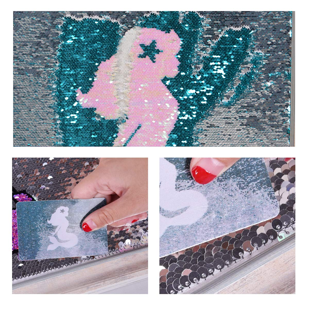 Unicorn Sequin Wall Art Reversible Wall Posters Decoration Unicorn Room Decor Gifts for Kids Nursery Bedroom 17 /× 17