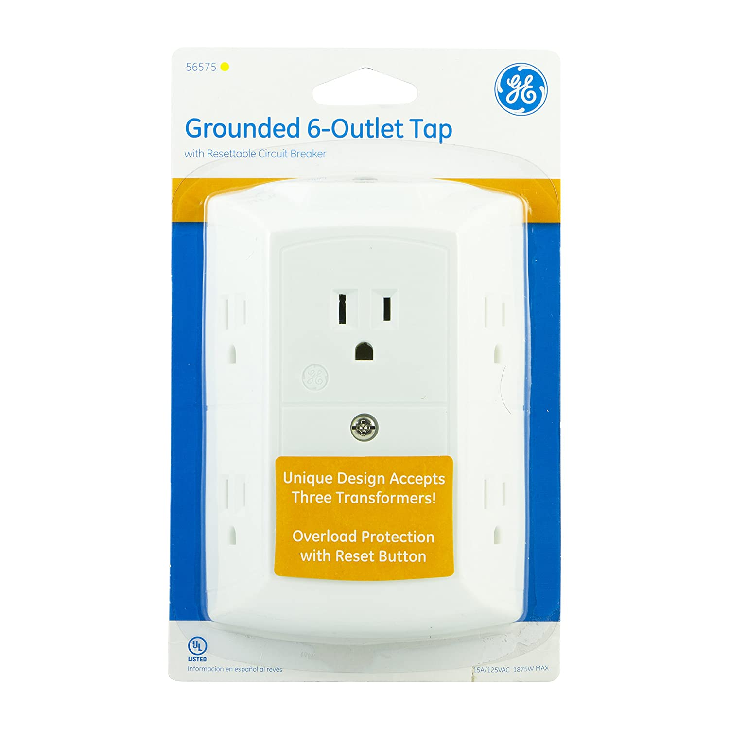 Ge Grounded 6 Outlet Tap With Resettable Circuit Breaker White 15a Diy Electrician Part Six Breakers And An Arc Fault 125vac Max Ul Listed 56575 Electrical Multi Outlets