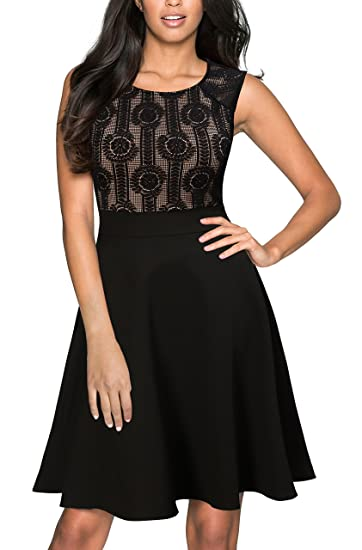 Mmondschein Womens Vintage Lace A-line Party Cocktail Bridesmaid Dress Black L